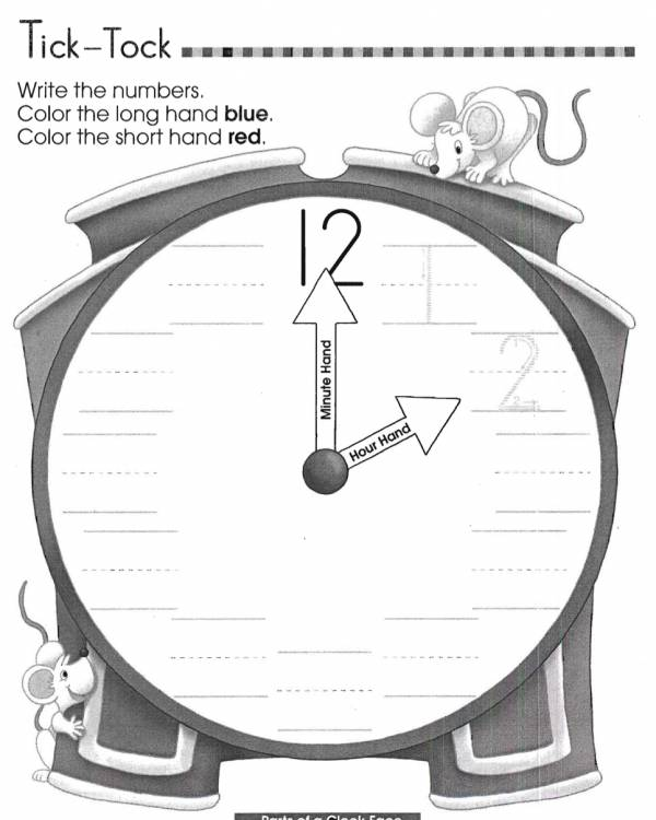Labeling Parts Of A Clock