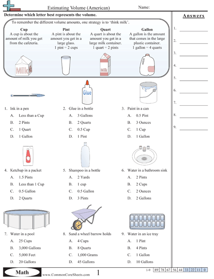 Free Capacity Worksheets~ 30 Printables With Answer Keys  Just One