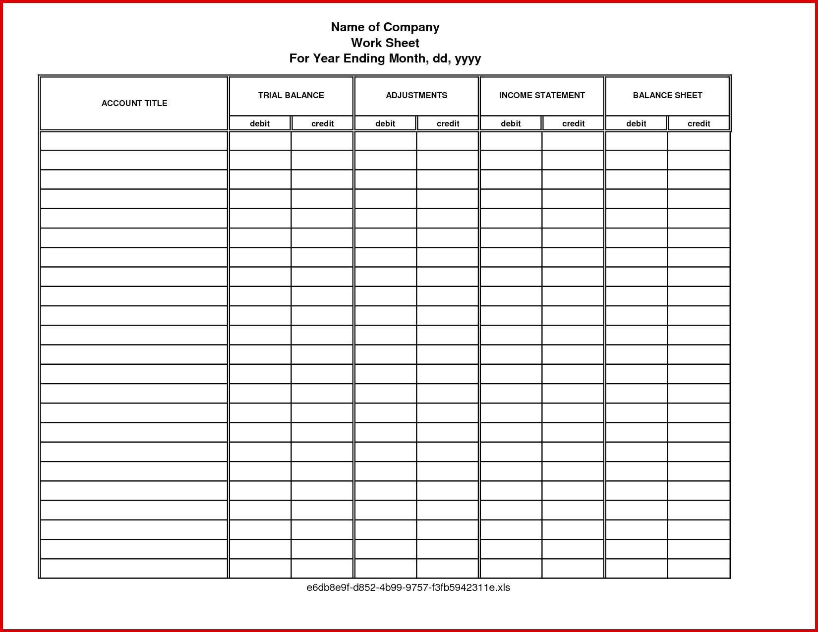Accounting Worksheet Template Free