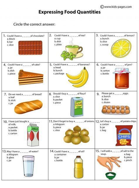 Food Quantities Worksheets