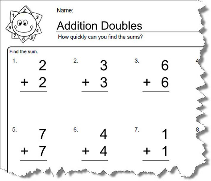 Worksheets For Elementary Math  Doubles Addition