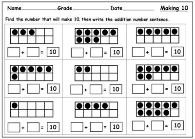 Addition Worksheets First Grade Ten Frame Addition Worksheets