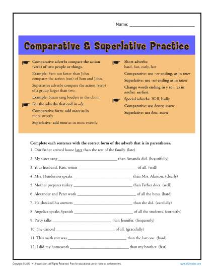 Comparative And Superlative Adverb Worksheets