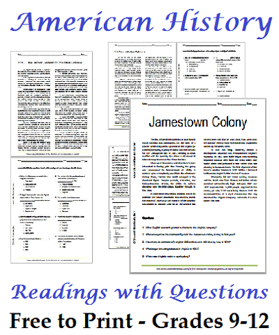 List Of American History Readings Worksheets For High School