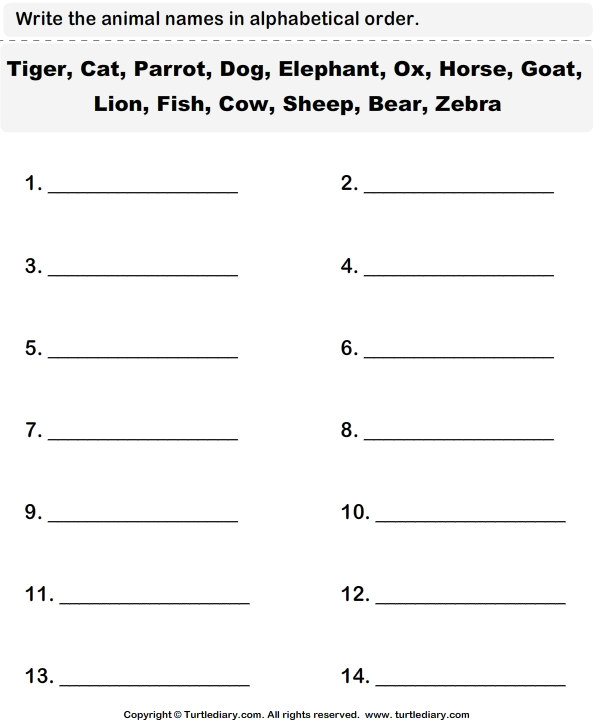 Animal Names Worksheet