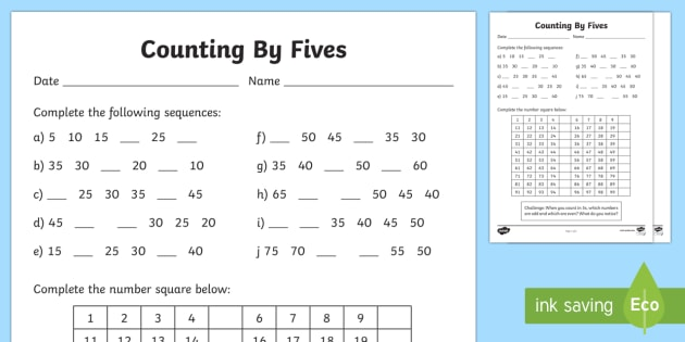 Counting By 5s Worksheet   Worksheet