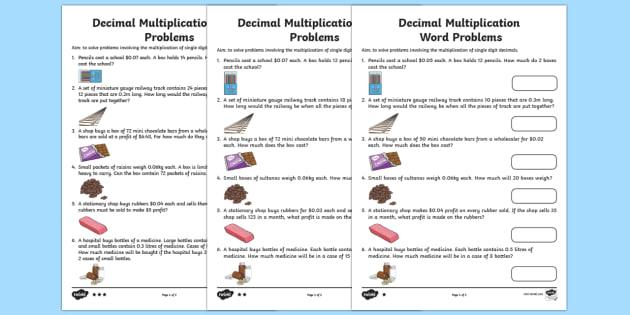 Multiply Single Digit Decimals Word Problems Worksheet   Activity