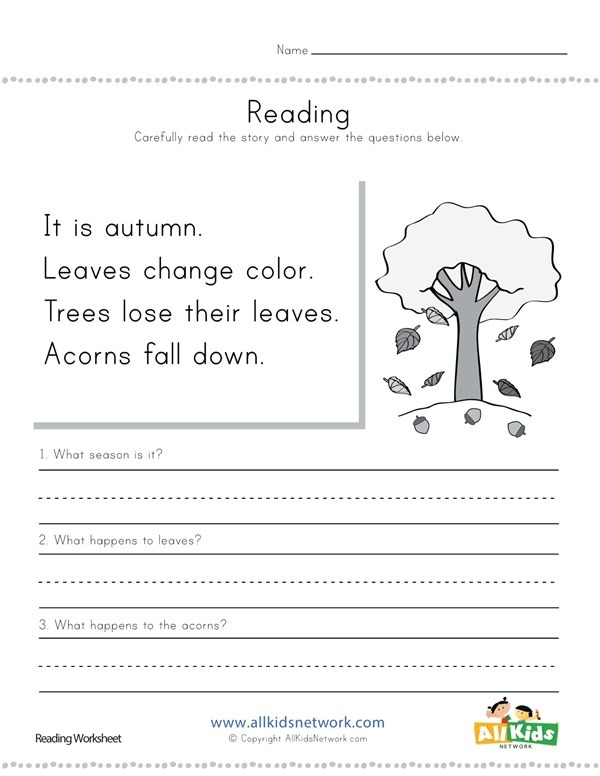 Autumn Reading Comprehension Worksheet