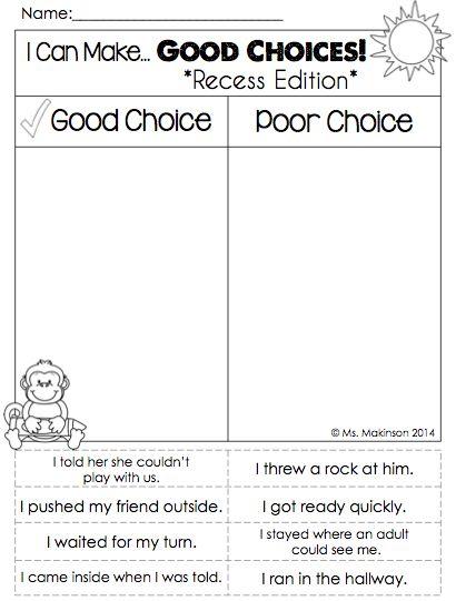 Printables  Making Good Decisions Worksheets  Lemonlilyfestival