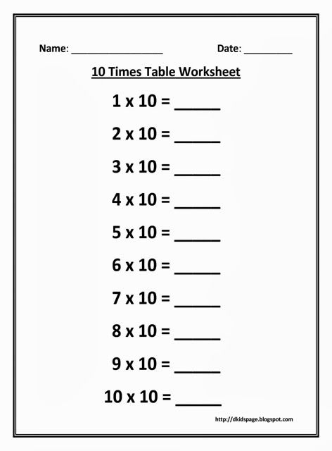 10 Times Multiplication Table Worksheet