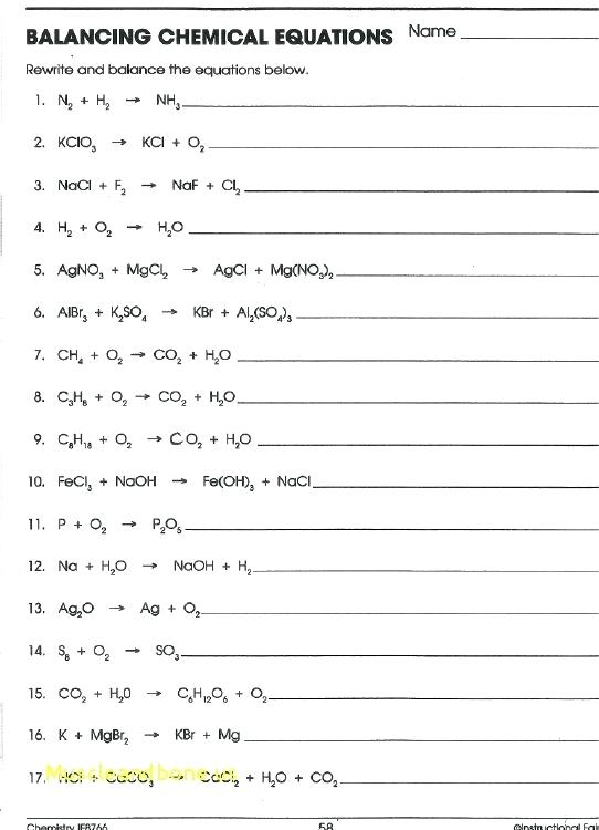 Balancing Chemical Word Equations Worksheet With Answers Images