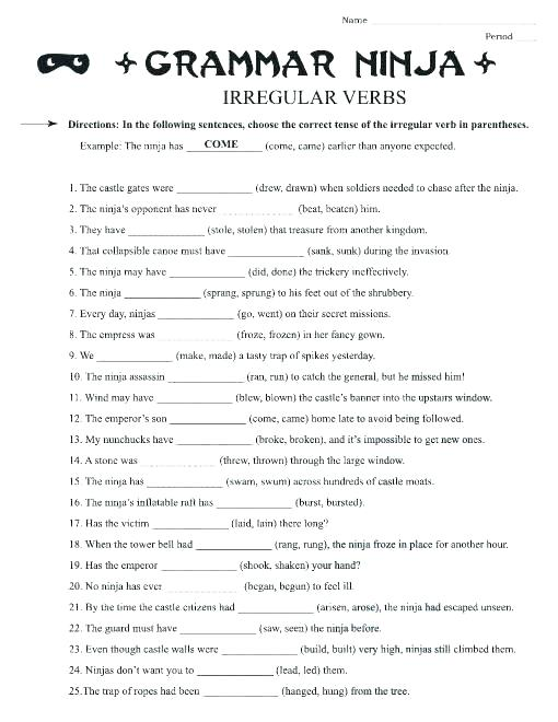 Irregular Verbs Worksheet High School Exercises For Worksheets St