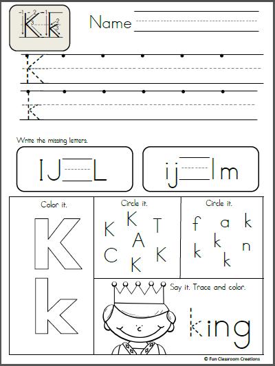 Alphabet Letter K Writing Practice