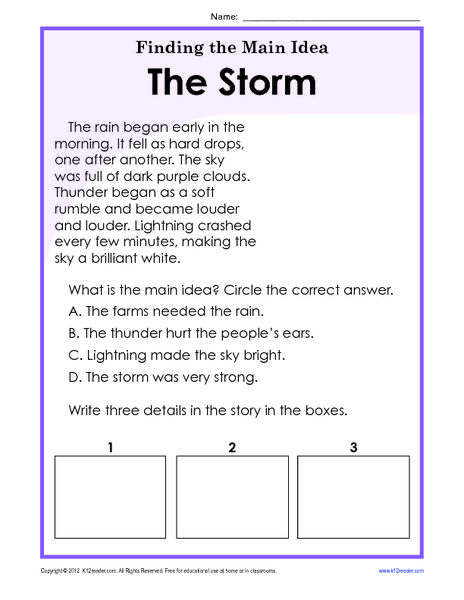 Finding The Main Idea Worksheets 3rd Grade