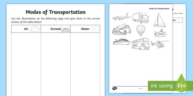 Modes Of Transportation Cut And Glue Worksheet   Worksheet