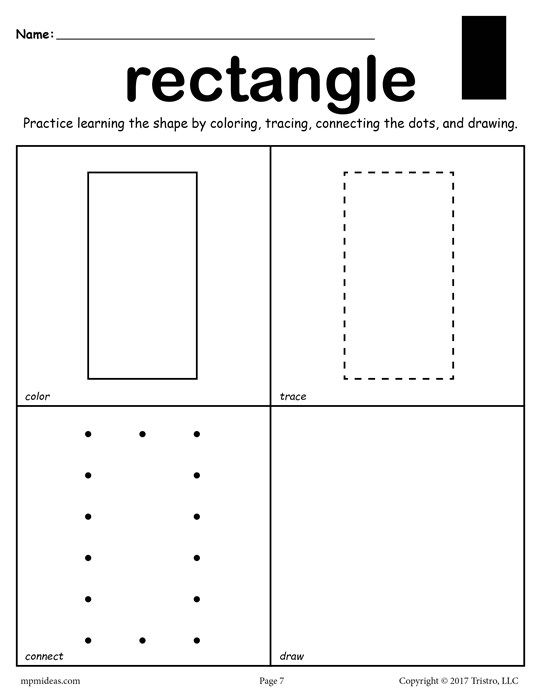 Free Rectangle Shape Worksheet  Color, Trace, Connect, & Draw