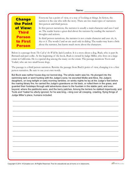 Change The Point Of View Worksheets