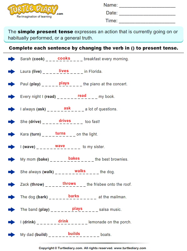 New 922 Simple Present Tense Worksheets For Grade 1