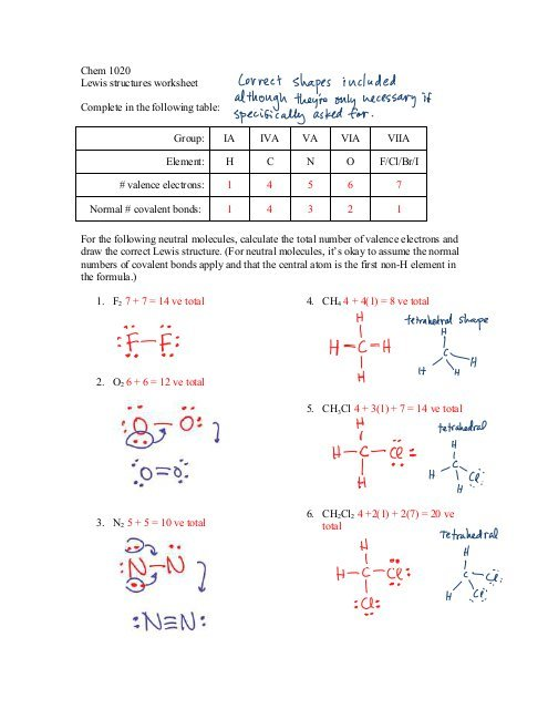 Chem 1020 Lewis Structures Worksheet Complete In The Following