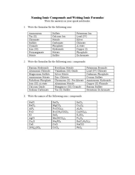 Naming Compounds Worksheet Answers