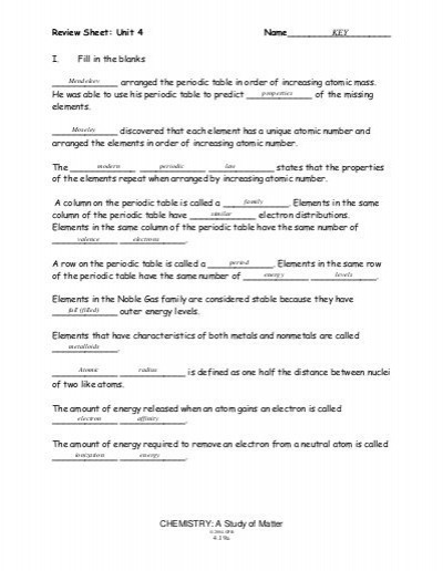 Chemistry A Study Of Matter Worksheet Answers 39621050