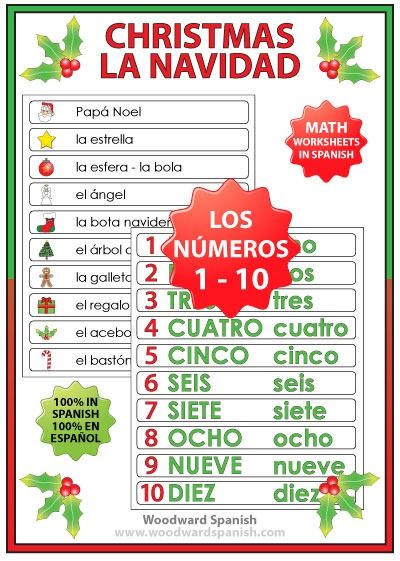 Christmas Math Worksheets In Spanish – Numbers 1 To 10