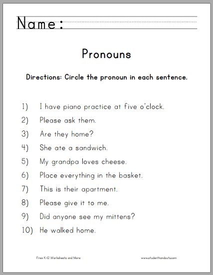 Circle The Pronouns Worksheet For First Grade
