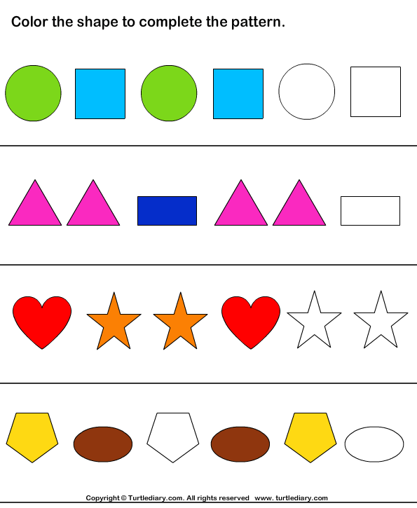 Color The Shapes To Continue Patterns Worksheet