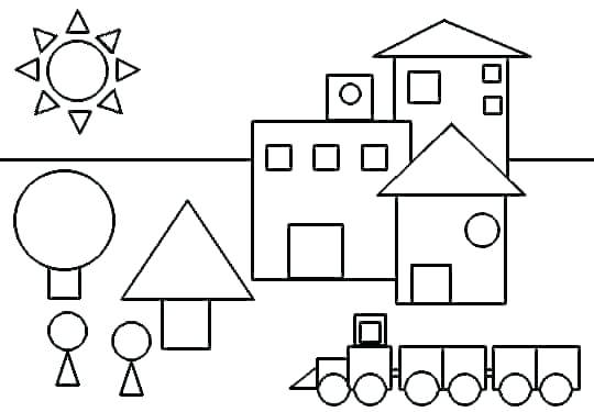 Coloring Shapes Worksheets Kindergarten Color By The Shape And