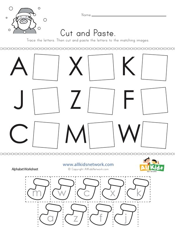 Christmas Cut And Paste Letter Matching Worksheet