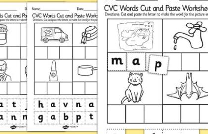 Cut And Paste Worksheets For 2nd Grade Cvc Words Cut And Paste