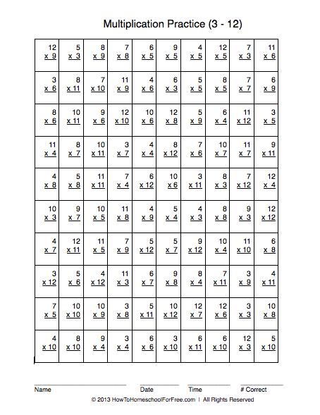 Multiplication Practice Worksheet  3