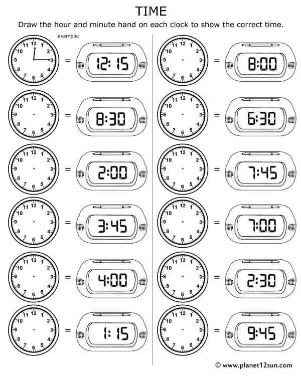 Telling Time  Free Printable Worksheet
