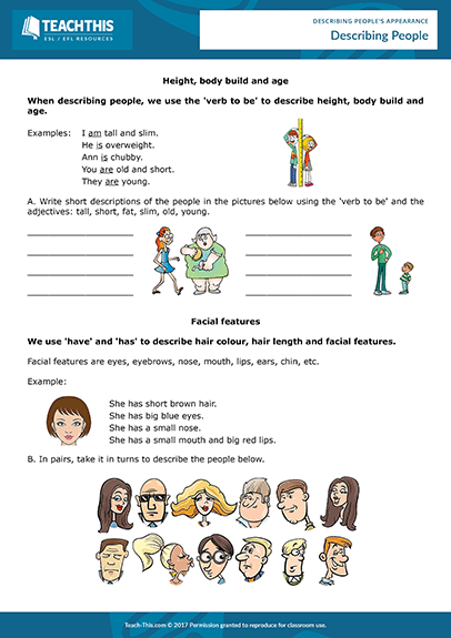Describing People's Appearance Esl Activities Worksheets Lessons Games