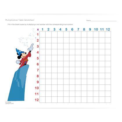 Disney Multiplication Table Worksheet