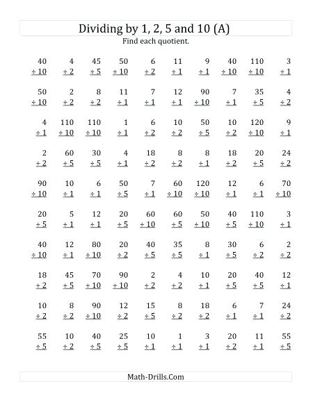 Division Math Facts Division Facts Worksheets With Combinations Of