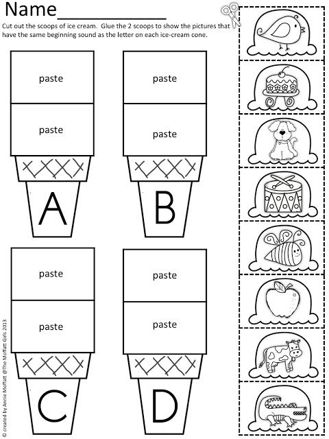Beginning Sound Scoops! Color,cut And Paste The Beginning Sound