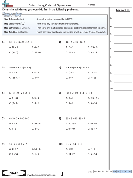 Order Of Operations (pemdas) Worksheets Listed In Common Core