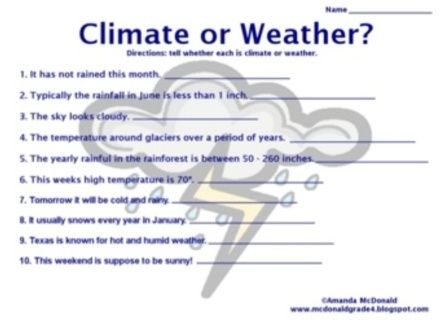 Image Result For Weather And Climate Worksheets