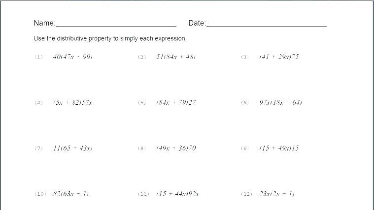 Simple Distributive Property Worksheets – Hagendasi Info