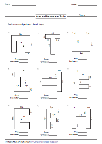 Area And Perimeter Of Paths