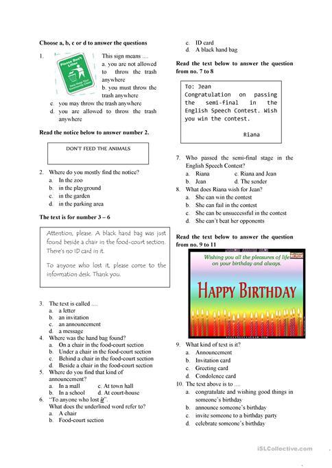 English Test For Grade 7 Worksheet Free Esl Printable Worksheets
