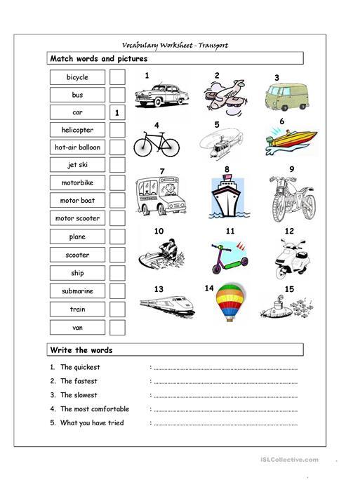 Esl Transportation Worksheets Vocabulary Matching Worksheet