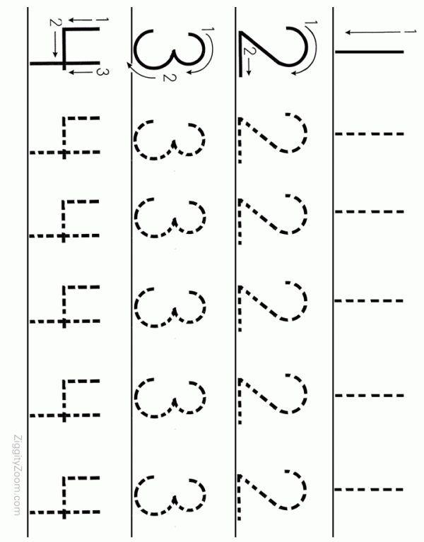 Number Tracing Worksheet Numbers 1 To 4