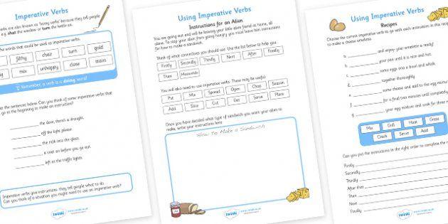 Imperative Verbs Bossy Words Worksheet