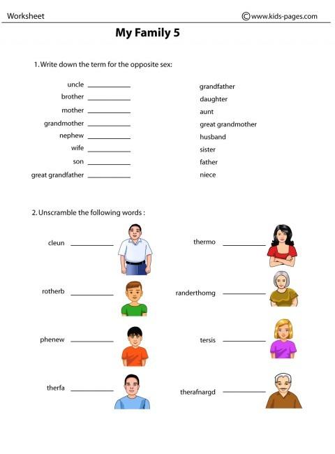 Family 5 Worksheet