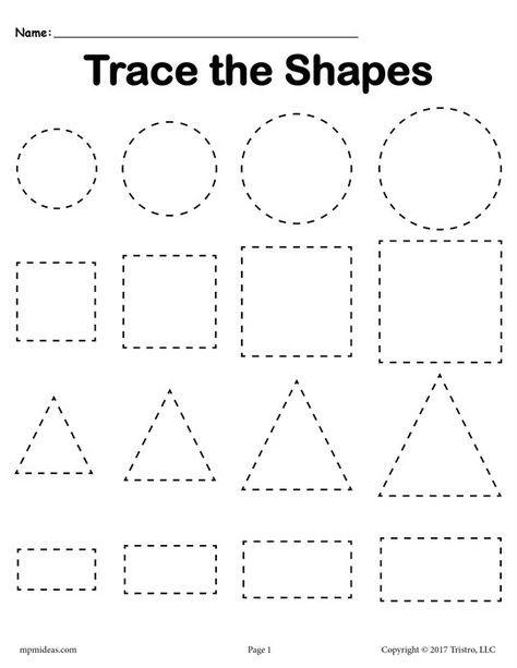 3 Free Tracing Shapes Worksheets