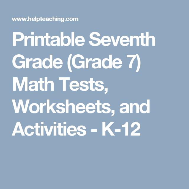 Printable Seventh Grade (grade 7) Math Tests, Worksheets, And
