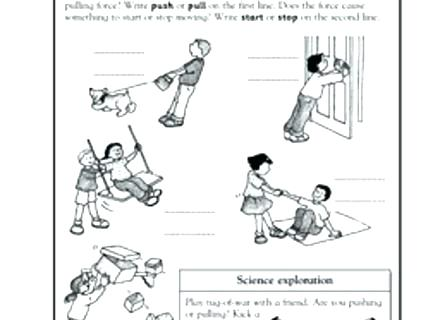Push And Pull Copy Paste Practice Sheet Science Worksheets Grade
