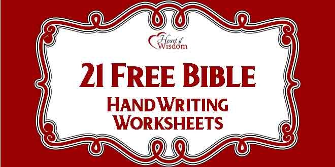 Free Bible Handwriting Worksheets – Heart Of Wisdom